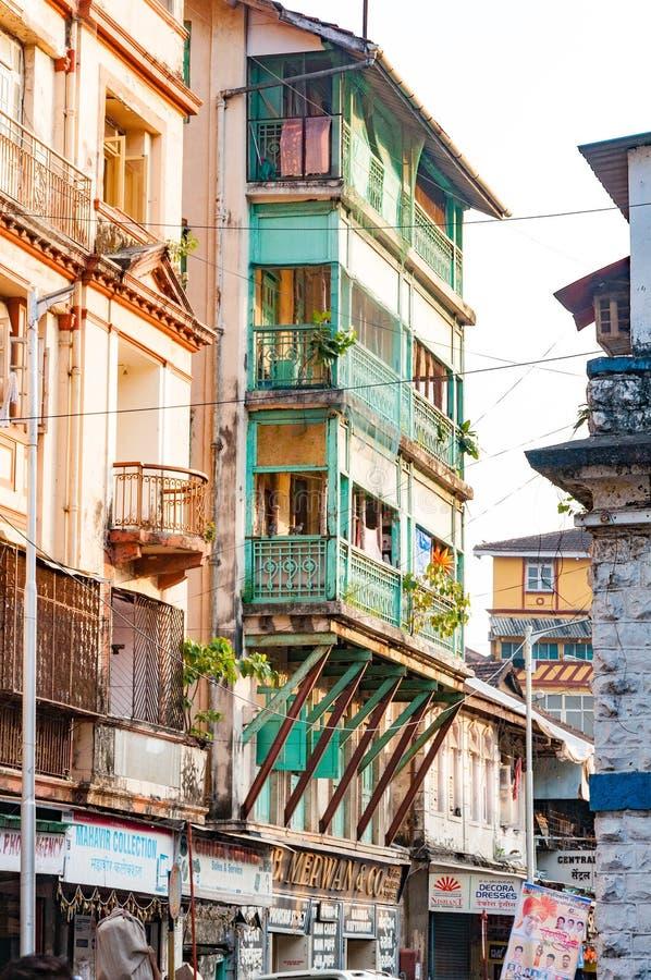 Gatasikt nära Grant Road Mumbai, Indien arkivbilder