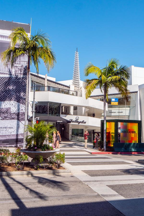 Gatasikt på Rodeo Drive i Beverly Hills - KALIFORNIEN, USA - MARS 18, 2019 arkivbilder