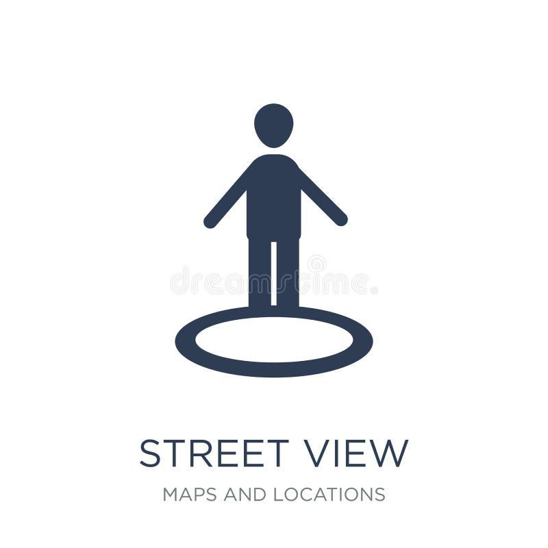 Gatasiktssymbol Moderiktig plan symbol för vektorgatasikt på vitt b royaltyfri illustrationer