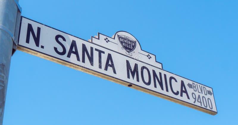 Gatatecken Santa Monica Boulevard i Beverly Hills - KALIFORNIEN, USA - MARS 18, 2019 arkivfoton