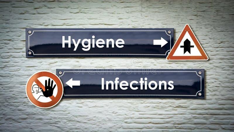 Gatatecken till infektioner f?r hygien kontra royaltyfria foton