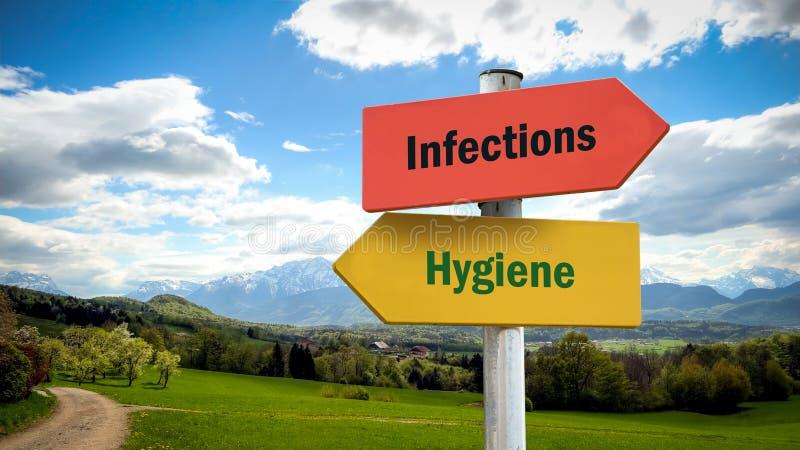Gatatecken till infektioner f?r hygien kontra royaltyfri bild
