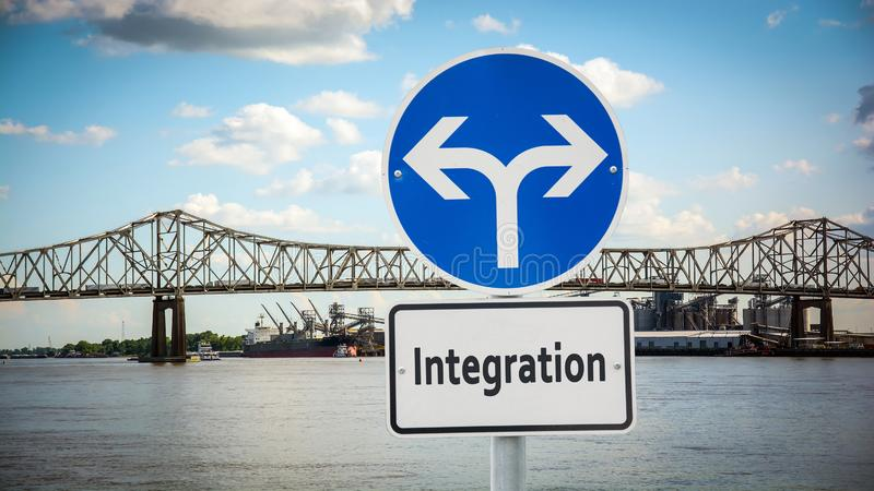 Gatatecken till integration fotografering för bildbyråer