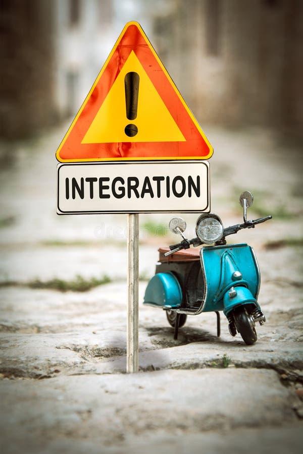 Gatatecken till integration royaltyfri fotografi