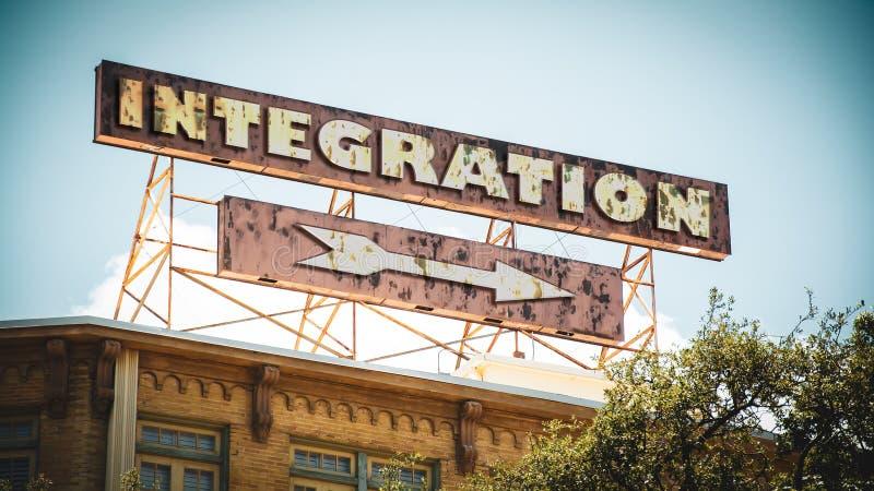Gatatecken till integration arkivfoton