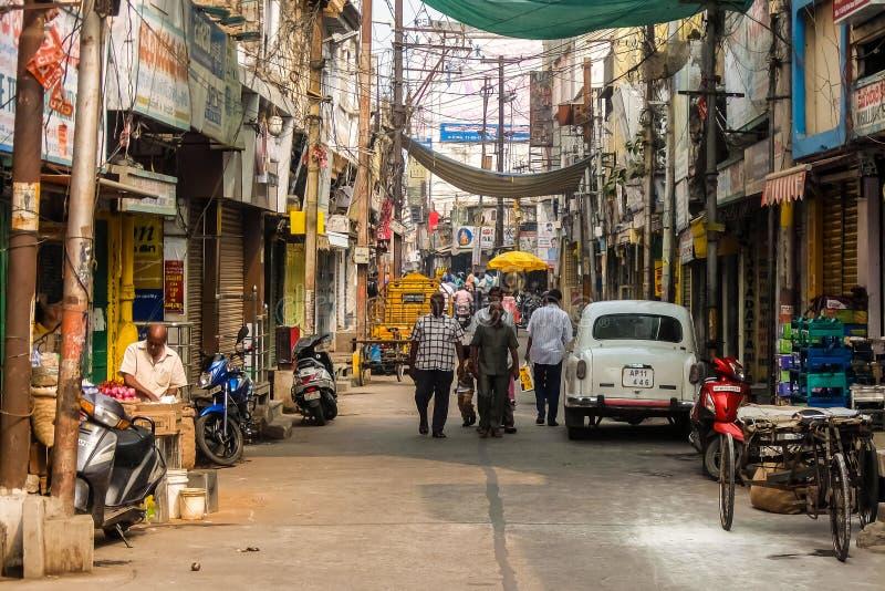 Gatatrafik i Vijayawada, Indien arkivfoto