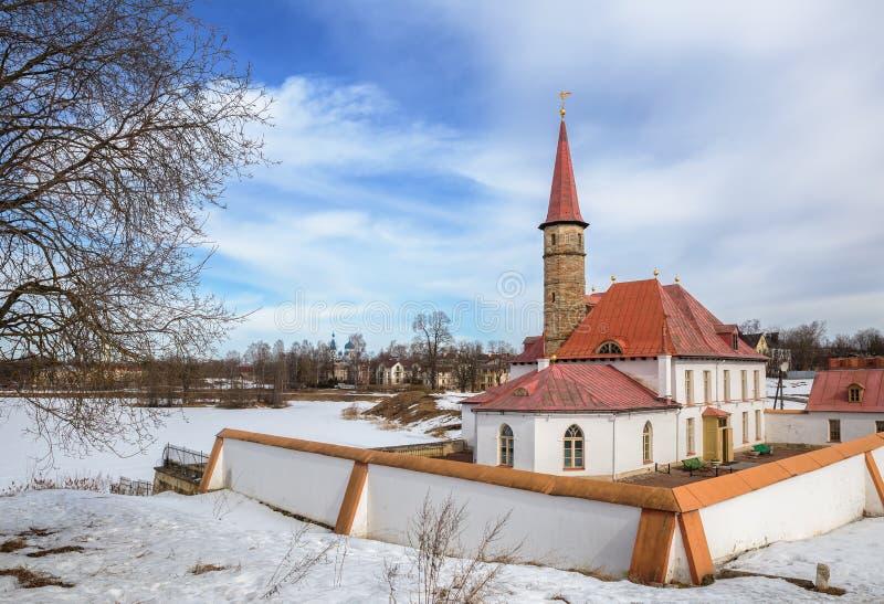 小修道院宫殿在加特契纳,俄罗斯 库存图片