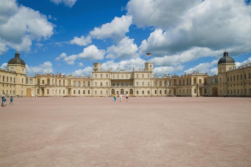 Panorama of the Great Gatchina Palace on a sunny July day royalty free stock image