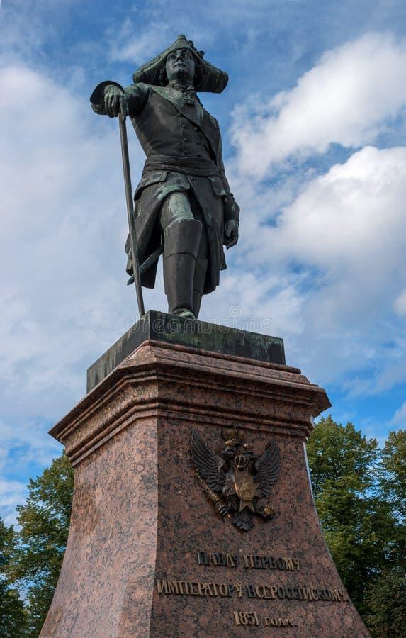 Gatchina Ryssland - September 10, 2016: Monument till den ryska kejsaren Paul I royaltyfri foto