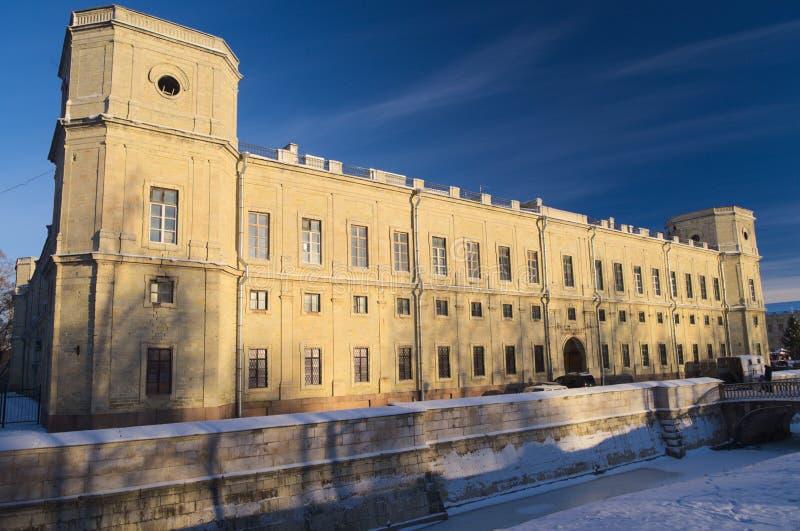 Gatchina slott i vinter royaltyfri fotografi