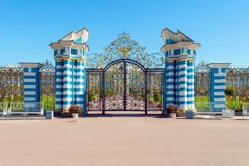 Gate of Ð¡atherine's palace, St. Petersburg, Russia. Gate of Catherine's palace in Tsarskoe Selo, St Petersburg, Russia stock photos
