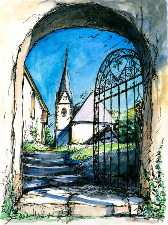 Gate. Gate to the church.Picture I have painted myself with watercolors stock illustration