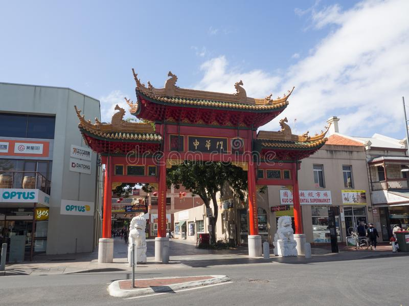 The gate of Adelaide`s Chinatown or Moonta Street Chinatown, is located on Moonta Street. ADELAIDE, SOUTH AUSTRALIA. - On November 06, 2018. – The gate stock photography