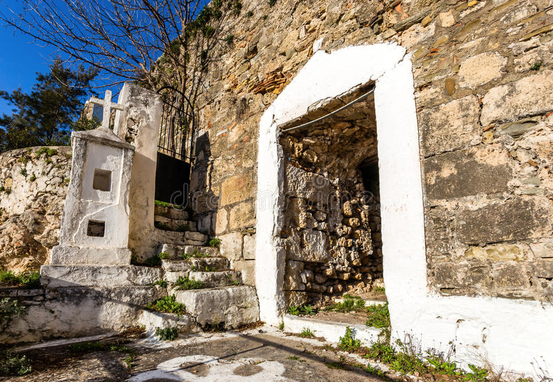 Gate of Agios Ioannis monastery in Koroni fortress stock photo