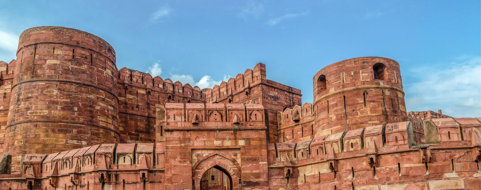 Red Fort,Agra, Uttar Pradesh, India. The Gate Akbar of old Red Fort, Agra, Uttar Pradesh,India, Islamic architecture stock images