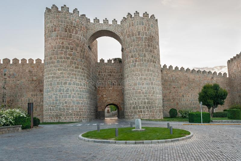 Gate of the Alcazar in the city walls of Avila, Spain.  stock photos