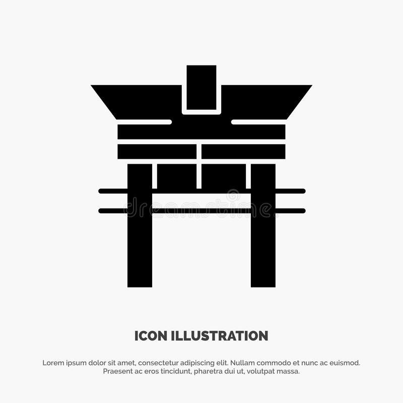 Gate. Bridge, China, Chinese Solid Black Glyph Icon vector illustration