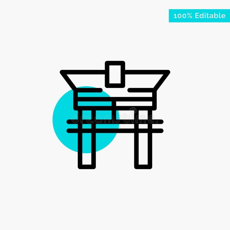 Gate, Bridge, China, Chinese turquoise highlight circle point Vector icon stock illustration