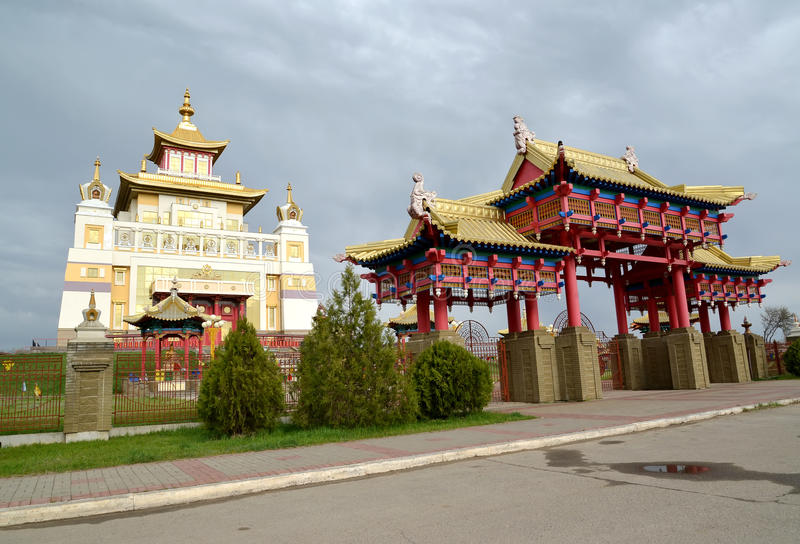 Gate and Buddhist temple complex `Gold Monastery of Buddha Shakyamuni`. Elista, Kalmykia stock photo