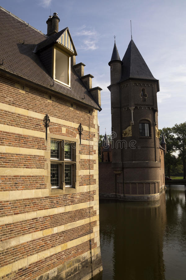 Gate building and tower Heeswijk castle stock photos