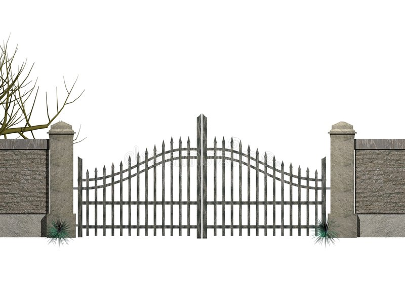 Gate with bushes. Illustration of a gate with bushes royalty free illustration