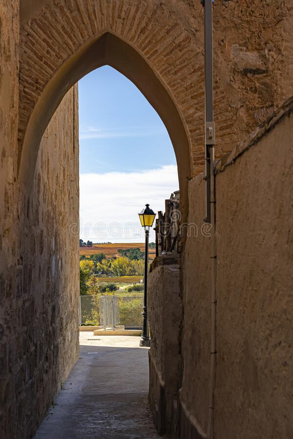 A gate on Calle Paniaqua overlooking the colorful hills around Requena, Spain stock photos