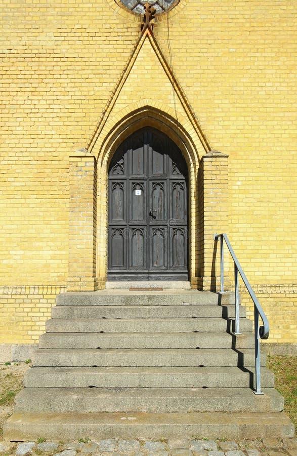 Gate of cemetery chapel in Steinfurth near Karlsburg, Germany stock photo