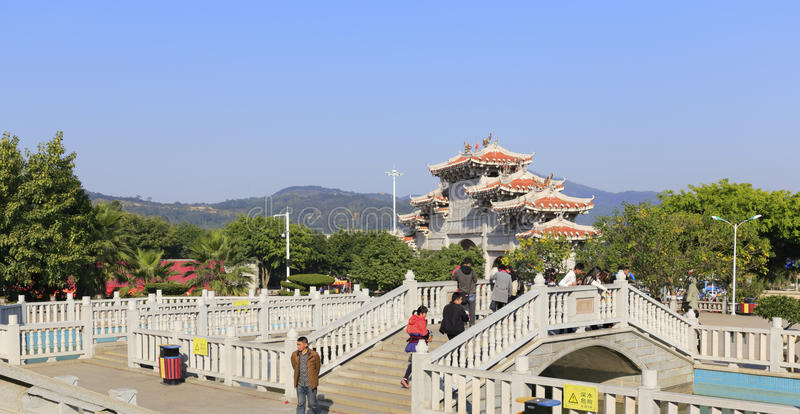 Gate of chi gong temple. Green reef (qingjiao ) tzu chi palace is located in the haicang district of xiamen city, china, worship the famous doctor wutao of the royalty free stock photos