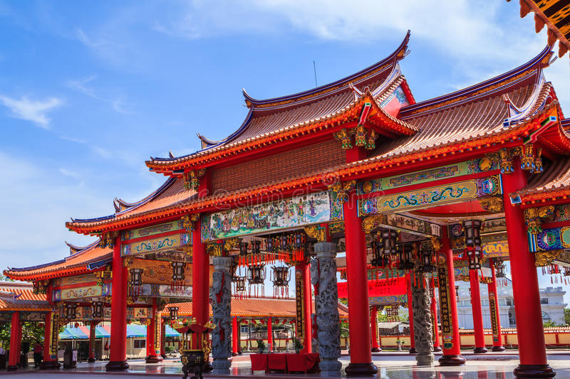 Gate of chinese temple. Thailand royalty free stock photo