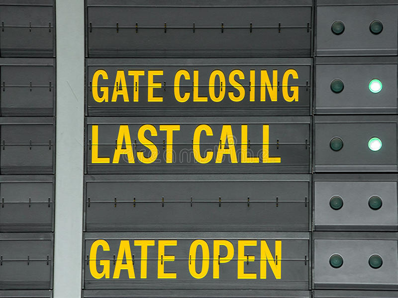 Gate closing,Gate open and last call message on airport informat. Ion board stock images
