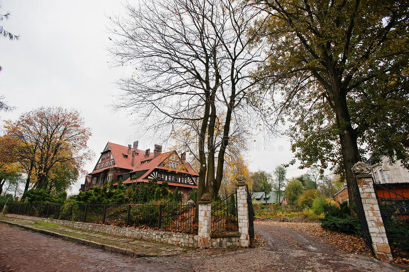 Download Gate Court Autumn Yard Of Old Gothic Mansion Stock Photo