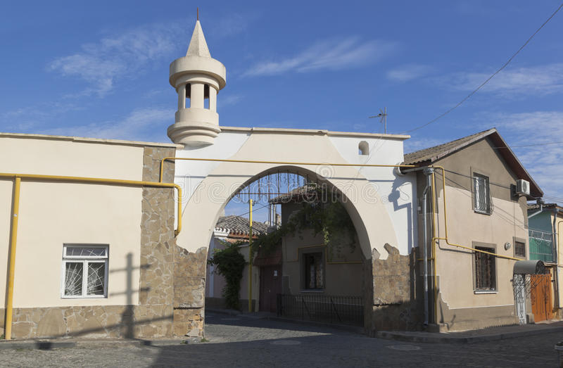 Gate at the crossroads of Karaite and School streets in the old city of Evpatoria stock photography