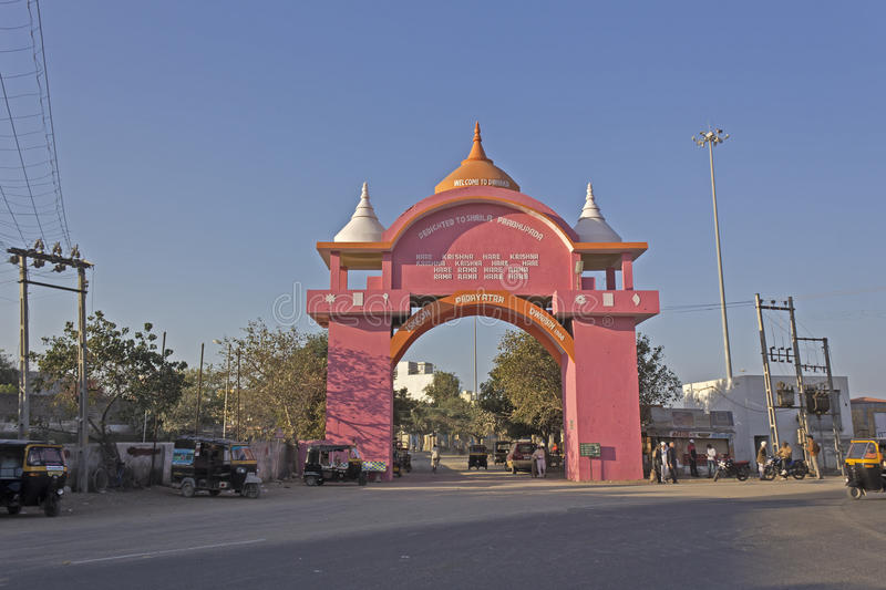Gate of Dwarka. FEB 11, 2015, DWARKA, INDIA - ISKCON gate of the holy Dwarka dhama royalty free stock images