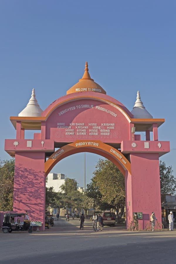 Gate of Dwarka. FEB 11, 2015, DWARKA, INDIA - ISKCON gate of the holy Dwarka dhama royalty free stock photos