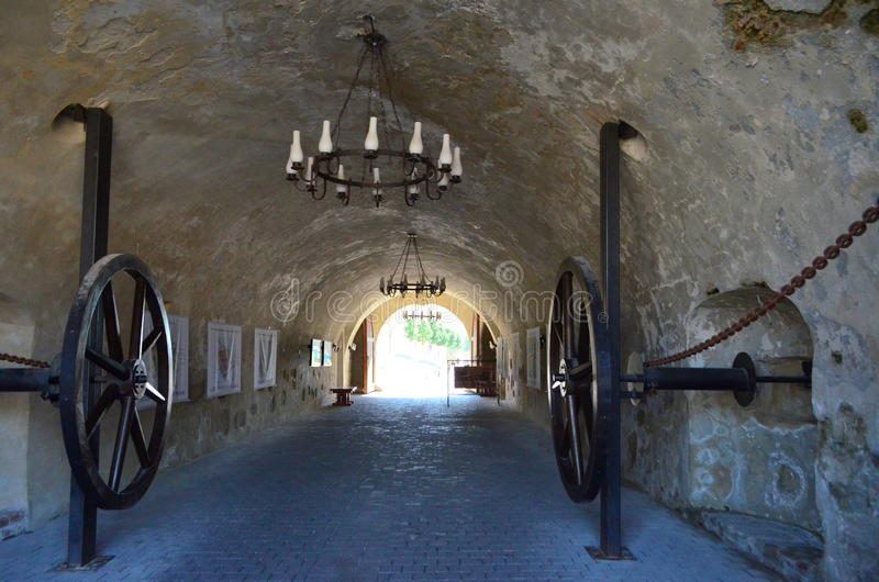 Gate entrance to Alba Iulia Citadel. Image of gate entrance with massive doors triggered by big metal wheels-Alba Iulia Citadel stock images