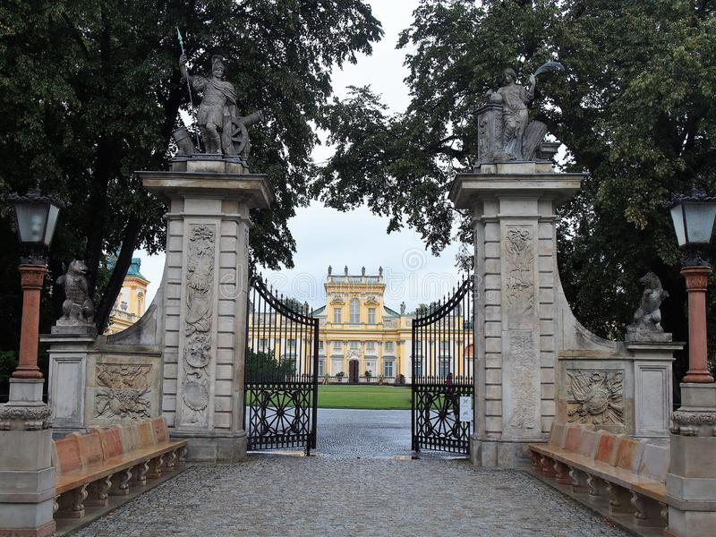 The gate and facade of Wilanowski Palace Walsaw, Poland royalty free stock images