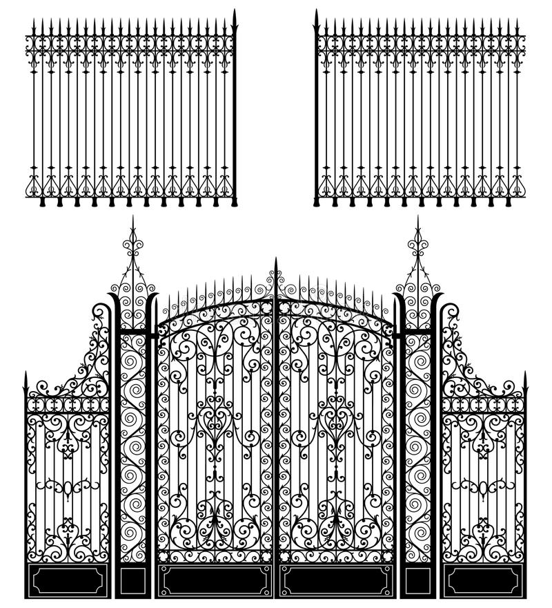 Gate and Fence. Wrought iron gate and fences full of swirled decorations