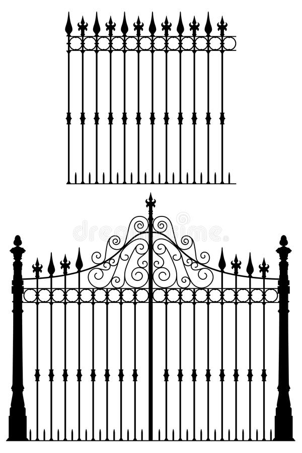 Gate and Fence. Wrought iron gate and modular fences