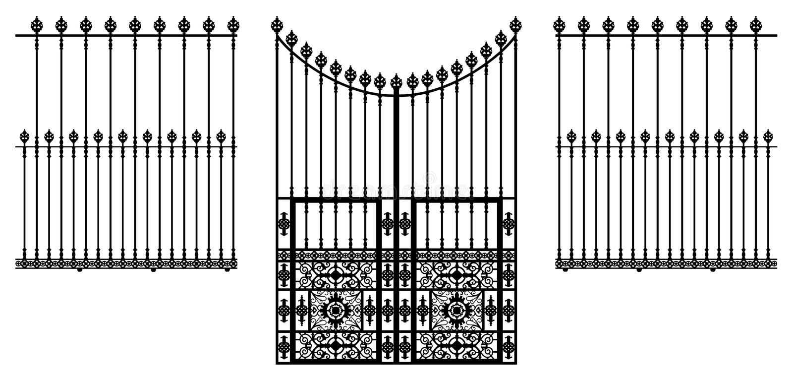 Gate and Fences. Wrought iron ornamental gate and fences illustration royalty free illustration