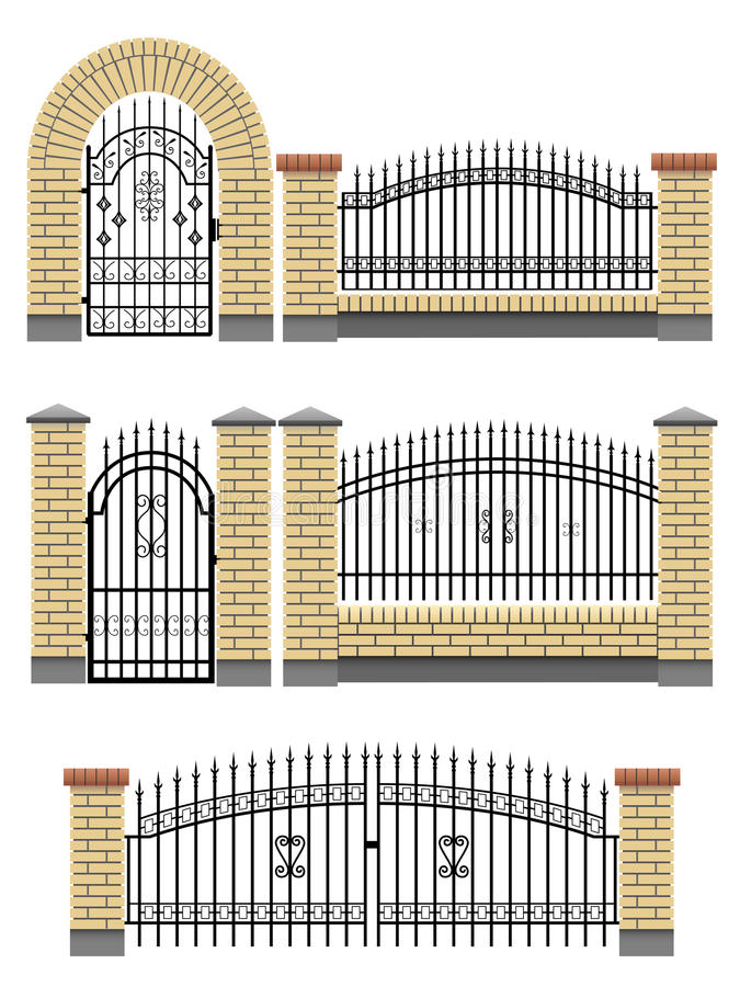 Download Gate, Fences With Bricks And Metal Lattice. Stock Vector - Illustration: 26669739