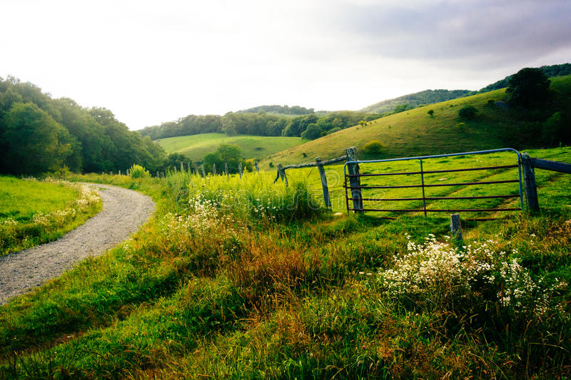 Download Gate In A Field At Moses Cone Park On The Blue Ridge Parkway In Stock Photo - Image of clouds, forest: 48914860