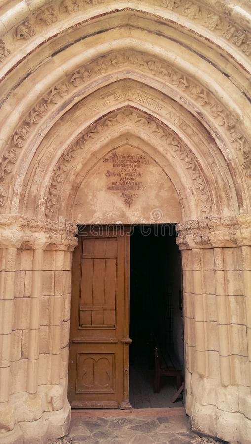 Gate of the fortified church in Atel royalty free stock photo