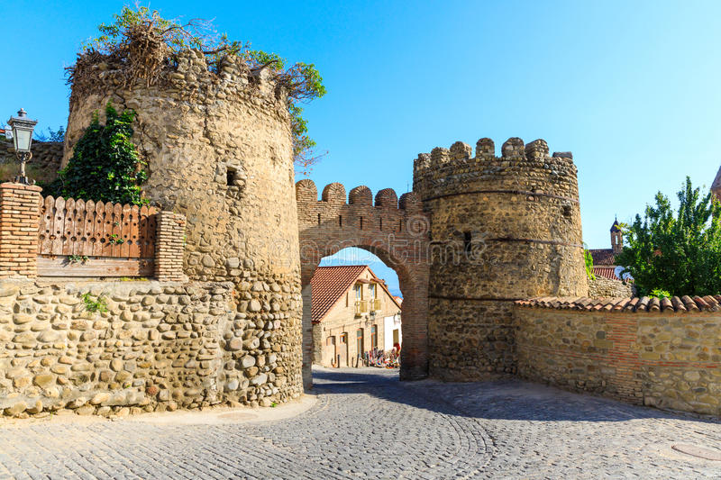 Gate of the fortress in Sighnaghi. The gate of the fortress of the XVIII century in Sighnaghi. Kakheti region, Georgia royalty free stock photos