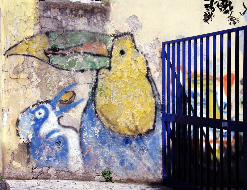 Gate on the graffiti royalty free stock image