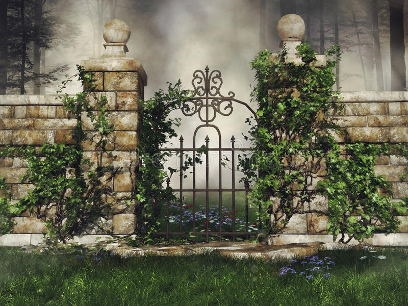 Gate with green vines stock illustration