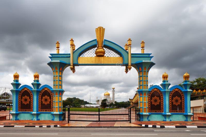 The gate of Haji Sir Muda Omar Ali Saifuddien Park of Brunei royalty free stock photography