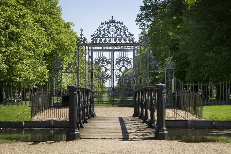 Gate at Hampton Court Palace which was originally built for Cardinal Thomas Wolsey 1515, later became. LONDON, UK - May 11, 2018. Gate at Hampton Court Palace stock images
