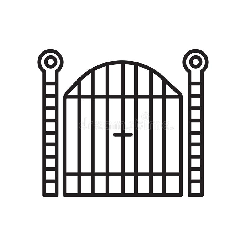 Gate icon vector isolated on white background, Gate sign , sign and symbols in thin linear outline style stock illustration