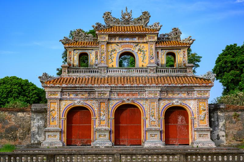 Imperial City Hue, Vietnam Gate of the Forbidden City of Hue. stock image