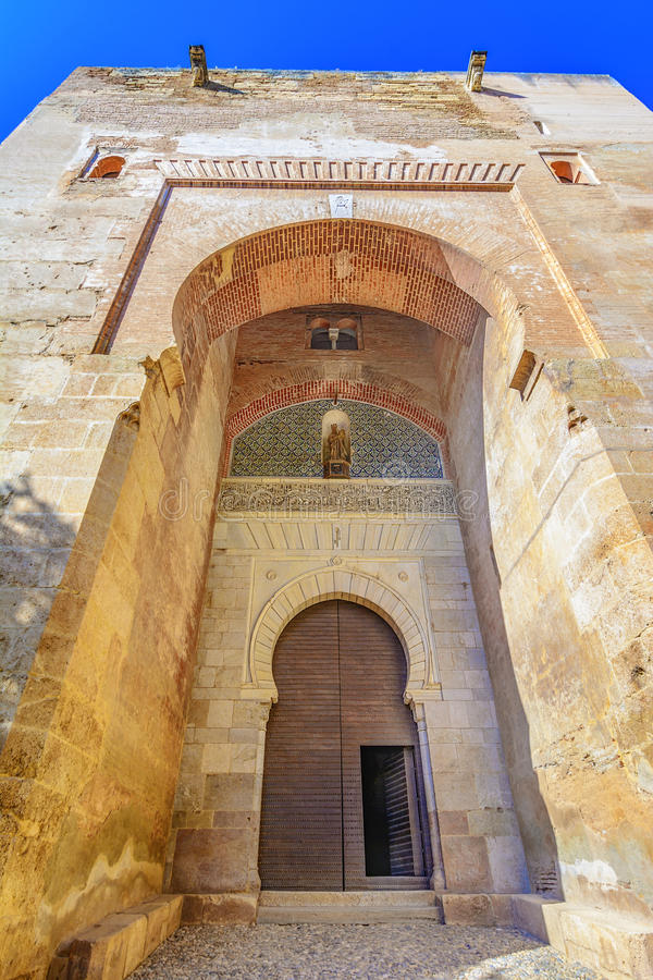 Gate of Justice,Puerta de la Justicia,Alhambra, Granada, Spain,. Andalusia,Europe: the most impressive gate to Alhambra complex, n royalty free stock photos